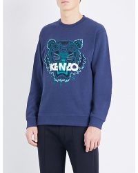 KENZO | Blue Tiger-embroidered Cotton-jersey Sweatshirt for Men | Lyst