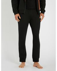 Emporio Armani - Black Logo-detail Jersey jogging Bottoms for Men - Lyst