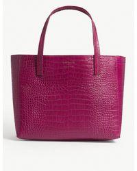 Kurt Geiger - Purple Fuchsia Pink Violet Reptile Effect Leather Horizontal Tote Bag - Lyst