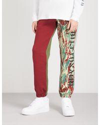 BBCICECREAM - Red Panelled Cotton-jersey Jogging Bottoms for Men - Lyst