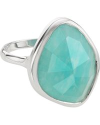 Monica Vinader - Metallic Siren Sterling Silver And Blue Lace Agate Nugget Cocktail Ring - Lyst