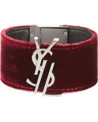 Saint Laurent - Multicolor Velvet And Leather Bracelet - Lyst
