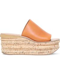 Chloé | Brown Camille Leather Platform Wedge Mules | Lyst