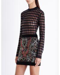 Balmain - Black Harlequin-pattern Knitted Top - Lyst