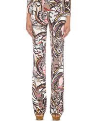 Emilio Pucci - Pink Abstract-print Slim-fit Jersey Trousers - Lyst