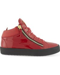 Giuseppe Zanotti | Red Patent Leather Mid-top Trainers for Men | Lyst