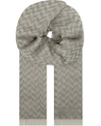 Armani | Gray Chevron Cotton-linen Scarf for Men | Lyst