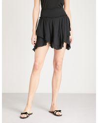 Free People - Black Tiered Asymmetric Jersey Mini Skirt - Lyst