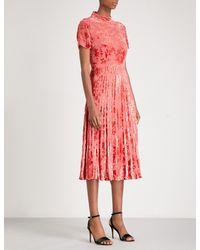 Whistles - Red Harlow Pleated Devoré Midi Dress - Lyst