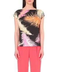 Emilio Pucci - Black Feather-print Jersey Top - Lyst