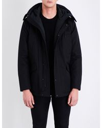 Sandro - Black Hooded Cotton-drill Coat for Men - Lyst