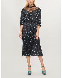 7aa68b79c82 Sandro Floral-print High-neck Satin Dress in Black - Lyst