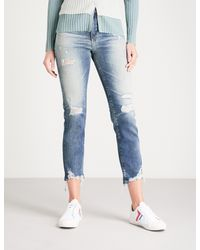 AG Jeans - Blue Isabelle Ripped Straight High-rise Jeans - Lyst