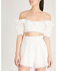 1ec435d38181af Zimmermann Melody Off-the-shoulder Linen And Cotton-blend Top in ...