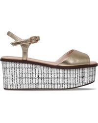 KG by Kurt Geiger - Gray Mambo Metallic-leather Platform Sandals - Lyst