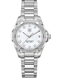 Tag Heuer - Black Way1313.ba0915 Aquaracer Lady Diamond And Stainless Steel Watch - Lyst