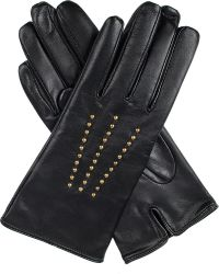 Dents | Black Marie Stud-detail Leather Gloves | Lyst