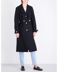 Claudie Pierlot - Black Belted Wool-blend Coat - Lyst