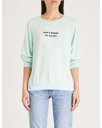 Wildfox - Blue Don't Worry Be Happy Cotton-jersey Sweatshirt - Lyst