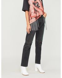 Christopher Kane - Black Crystal-embellished Straight High-rise Jeans - Lyst