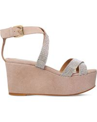 cdec79dbd67 Lyst - Carvela Kurt Geiger Klaire Suede Wedge Sandals in Gray