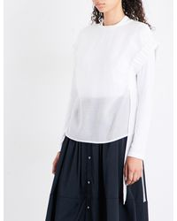 Izzue | White Ruched-sleeve Gauze Top | Lyst
