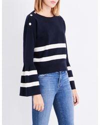 Claudie Pierlot - Blue Striped Cotton And Wool-blend Jumper - Lyst