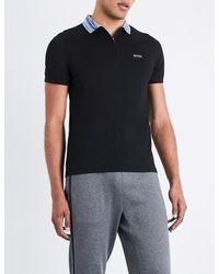 BOSS Green - Black Contrast-collar Cotton-blend Polo Shirt for Men - Lyst