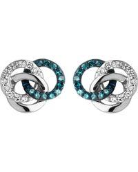 Links of London - Blue Treasured Silver And Diamond Stud Earrings - Lyst