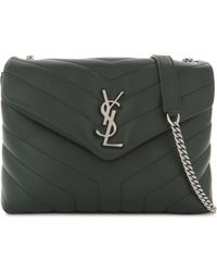 Saint Laurent | Green Monogram Loulou Leather Shoulder Bag | Lyst