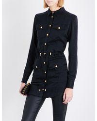 Balmain | Black Button-detailed Satin Shirt | Lyst
