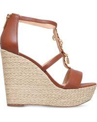 MICHAEL Michael Kors   Brown Suki Leather Platform Sandals   Lyst
