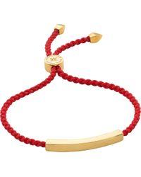 Monica Vinader - Red Linear 18 Carat Gold Plated Vermeil Friendship Bracelet - Lyst