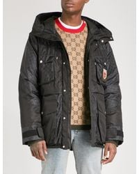 Gucci - Black Logo-jacquard Quilted Feather And Down-blend Jacket for Men - Lyst