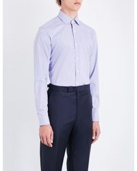 Corneliani - Blue Micro Houndstooth-pattern Slim-fit Cotton Shirt for Men - Lyst