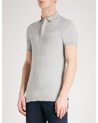 Emporio Armani | Gray Intarsia Knitted Polo Shirt for Men | Lyst