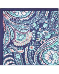 Eton of Sweden - Blue Paisley Print Silk Pocket Square - Lyst
