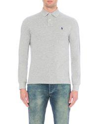 Polo Ralph Lauren | Gray Custom-fit Cotton-piqué Polo Shirt for Men | Lyst
