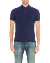 Polo Ralph Lauren - Blue Slim–fit Mesh Polo Shirt for Men - Lyst