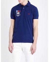 Polo Ralph Lauren | Blue Slim-fit Branded Cotton-piqué Polo Shirt for Men | Lyst