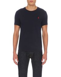 Polo Ralph Lauren | Blue Logo-embroidered Cotton-jersey T-shirt for Men | Lyst