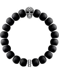 Thomas Sabo - Black Rebel At Heart Skull Obsidian Beaded Bracelet - Lyst