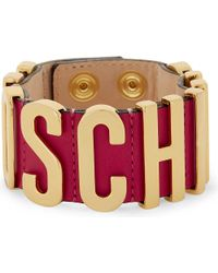 Moschino | Pink Logo Leather Wrap Bracelet | Lyst