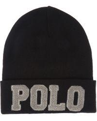 feb30b066ee Lyst - Polo Ralph Lauren Chenille Varsity Cotton Hat in Black for Men