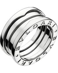 BVLGARI | Metallic B.zero1 Three-band White Gold Ring | Lyst