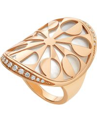 BVLGARI | Metallic Intarsio 18ct Pink-gold, Mother-of-pearl And Pavé-diamond Ring | Lyst