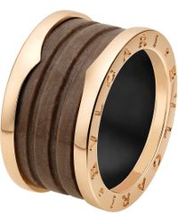 BVLGARI - Metallic B.zero1 Four-band 18kt Pink-gold And Brown Marble Ring - Lyst