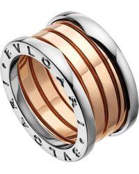 BVLGARI - Metallic B.zero1 18ct Pink And White-gold Ring - Lyst