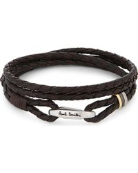Paul Smith | Black Leather Wrap Bracelet for Men | Lyst