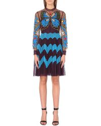 Mary Katrantzou - Blue Butterfly-embroidered Tulle Dress - Lyst